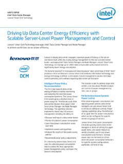 WHITE PAPER  Intel® Data Center Manager  Lenovo® Smart Grid Technology