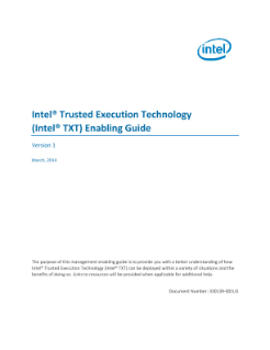 Intel® Trusted Execution Technology Enabling Guide