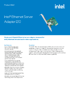 Intel® Ethernet Server Adapter I210 Product Brief