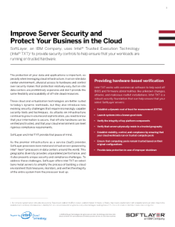 Intel TXT / IBM Softlayer Solution Brief