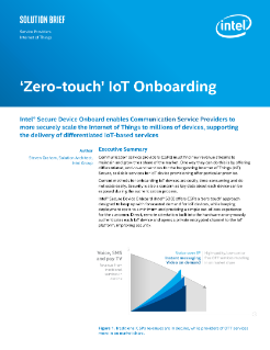 Intel Device Onboarding for Communication Service Providers Solution Brief