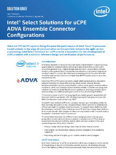 Intel Select Solutions for uCPE ADVA Ensemble Connector Configurations