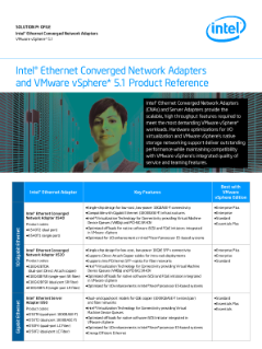Intel Ethernet converged network adapters and vmware vsphere 5.1 product reference