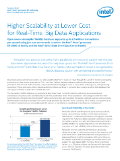 Solution Brief  Intel® Xeon® processor E5 v3 Family  Real-Time Big Data Applications