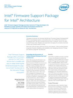 Intel® Firmware Support Package for Intel® Architecture: White Paper