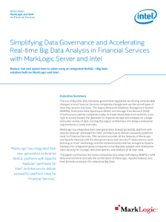 White Paper MarkLogic and Intel for Financial Services
