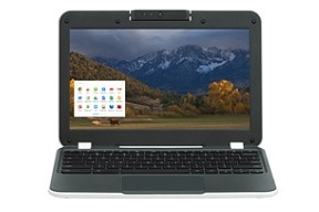Chromebook with mountain scene on screen.